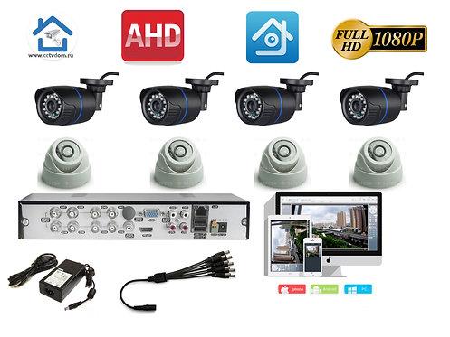 KIT8AHD100B300W1080P. Комплект  на 4 внутренних и 4 уличных камеры 1080P 2mP