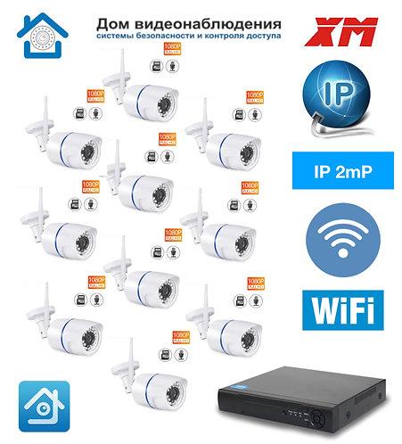 KIT10IPWF100W1080P. Комплект IP Wi-Fi видеонаблюдения на 10 уличных  камер 2 мП