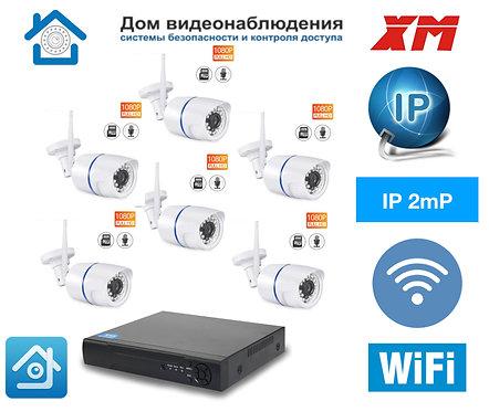 KIT6IPWF100W1080P. Комплект IP Wi-Fi видеонаблюдения на 6 уличных  камер 2 мП Fu