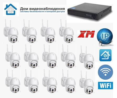 KIT14IPWFMQ1080P. Комплект IP Wi-Fi видеонаблюдения на 14 уличных PTZ камер 2МП