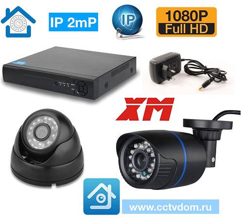 KIT2IP100B300B1080P. Комплект IP видеонаблюдения на 2 камеры 2мп 1080P