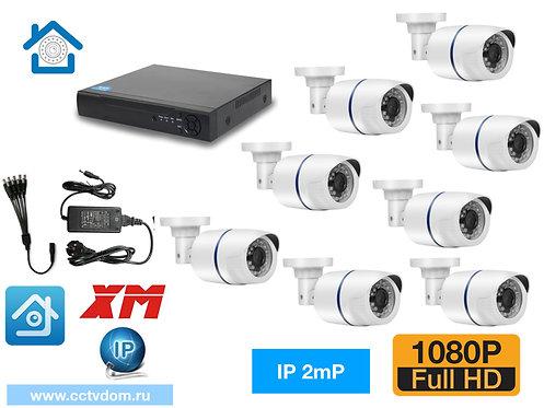 KIT8IP100W1080P. Комплект видеонаблюдения на 8 внутренних камер 2мП 1080P.