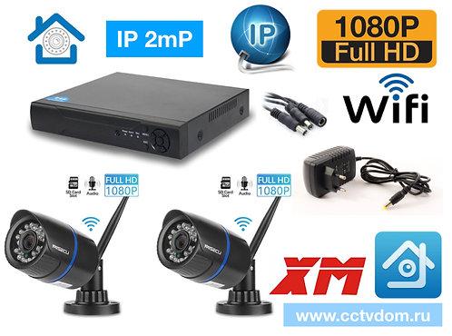 KIT2IPWF100B1080P. Комплект IP Wi-Fi видеонаблюдения на 2 уличные камеры 2мП
