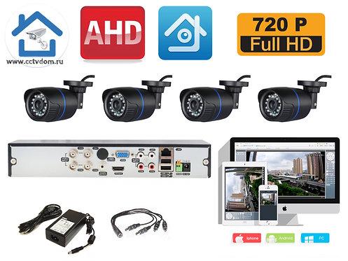 KIT4AHD100B720P. Комплект видеонаблюдения на 4 уличных HD720P камеры.