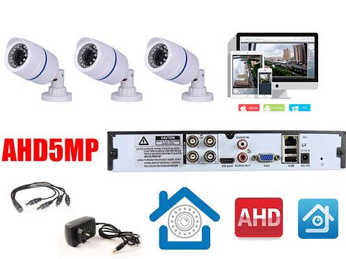 KIT3AHD100W5MP. Комплект видеонаблюдения на 3 уличные камеры 5 мП.