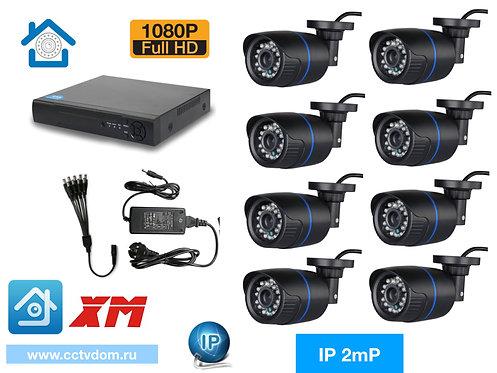 KIT8IP100B1080P. Комплект IP видеонаблюдения на 8 уличных камер 2мП 1080P.