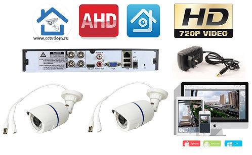 KIT2AHD100W720P. Комплект видеонаблюдения на 2 уличные HD720P камеры.