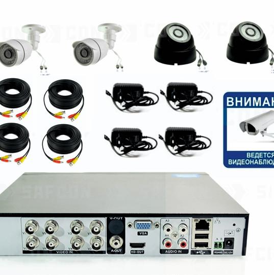 9600р. Full HD1080P. Комплект видеонаблюдения на 2 внутренние и 2 уличные Full HD камеры.