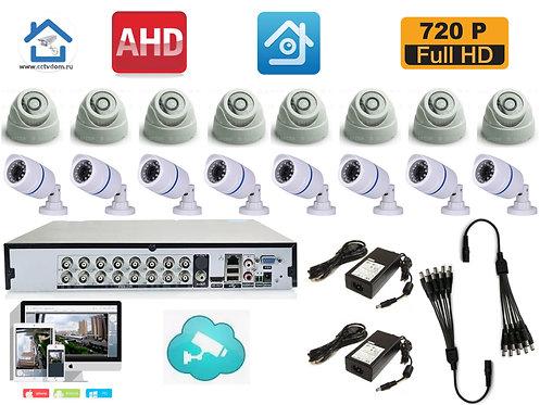 KIT16AHD100W300W720P. Комплект на 8 внутренних и 8 уличных камер HD720P