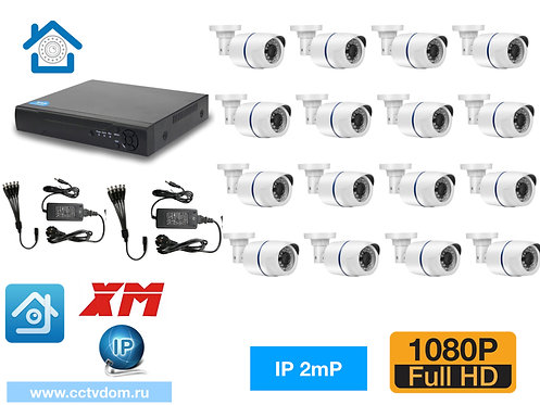 KIT16IP100W1080P. Комплект IP видеонаблюдения на 16 уличных камер 2мП 1080P.