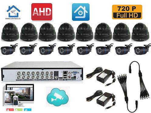 KIT16AHD100B300B720P. Комплект  на 8 внутренних и 8 уличных камер HD720P