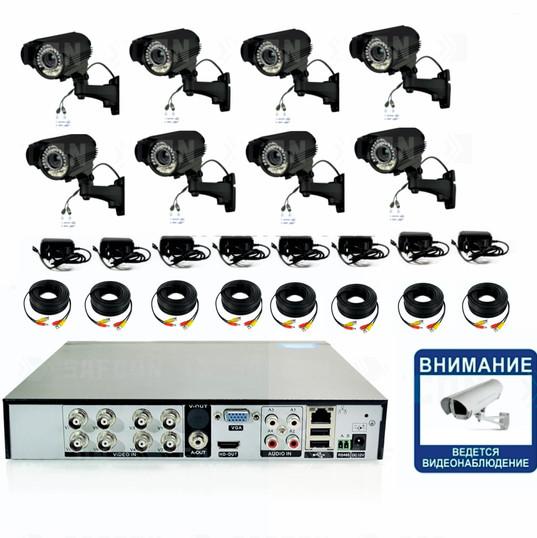 27000р. Full HD 1080P. Вариофокал. Комплект видеонаблюдения на 8 уличных Full HD камер.