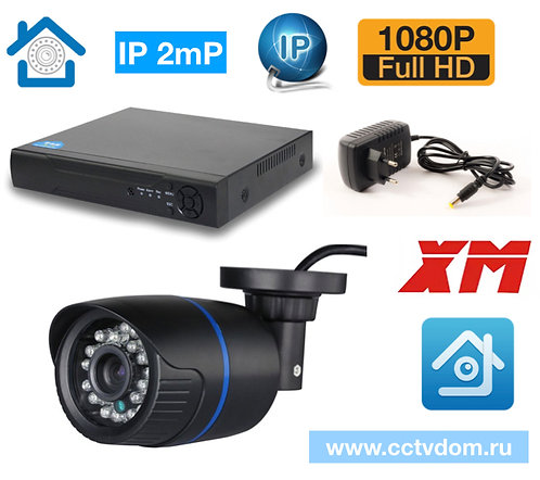 KIT1IP100B1080P. IP комплект на 1 уличную камеру 2 мП 1080P.