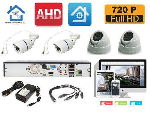 KIT4AHD100W300W720P. Комплект системы видеонаблюдения на 4 камеры
