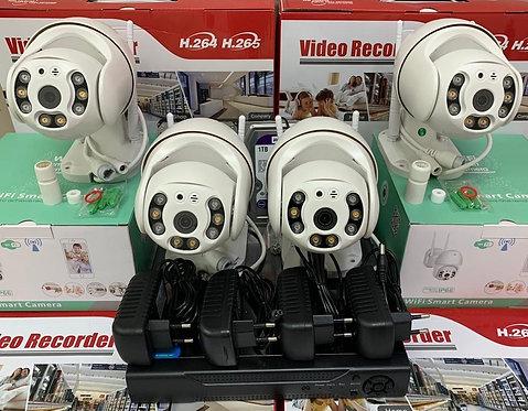 KIT4IPWFMQ1080P. Комплект IP Wi-Fi видеонаблюдения на 4 поворотные камеры