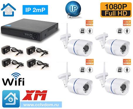 KIT4IPWF100W1080P. Комплект IP Wi-Fi видеонаблюдения на 4 уличные камеры 2мП