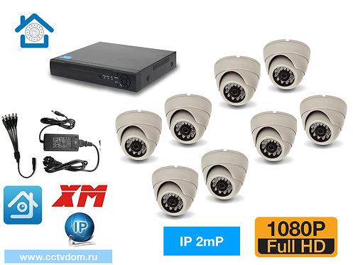 KIT8IP300W1080P. Комплект IP видеонаблюдения на 8 внутренних камер 2мП 1080P.