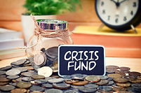 Word Crisis Fund on mini chalkboard and