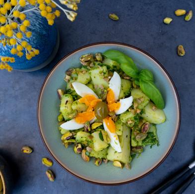 Aardappelsalade met spinaziepesto