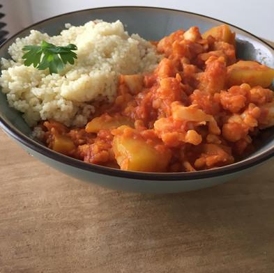 Vegetarische curry met pompoen & bloemkool