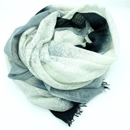 Felted cashmere sprayed shawl