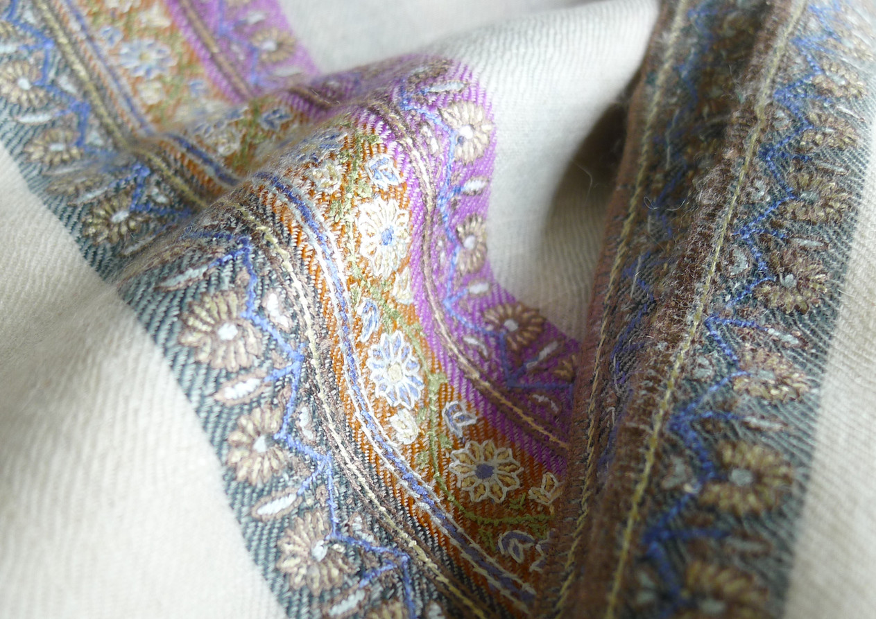 Hand woven, hand embroided and hand painted cashmere shawl. Unique piece. Contact us for more info and price