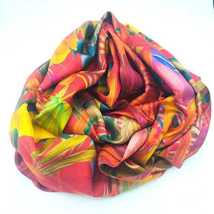 Tropical print-reversible  silk stole