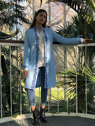 Embroided linen coat