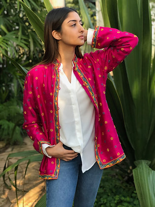 Embroided silk jacket