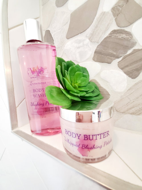 Blushing Petals  Body Wash & Whipped Body Butter Combo Set