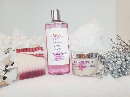 Blushing Petals Body Wash with matching Body Butter and 2021 Shea Guava Soap Bar