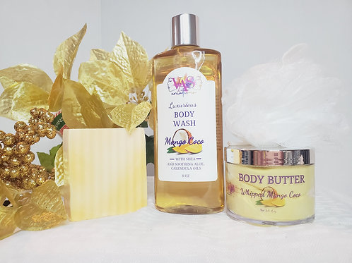 Mango Coco Body Wash, Body Butter and Soap Bar Set