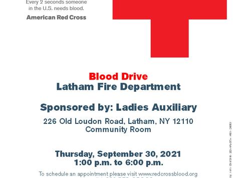 Event Alert: Blood Drive on 9/30/2021