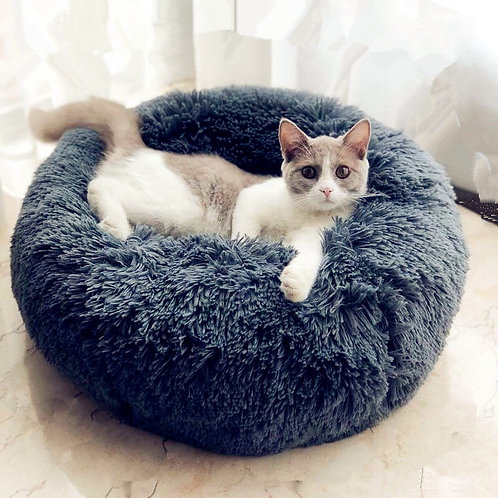 Round Cat Beds House Soft Long Plush sofa