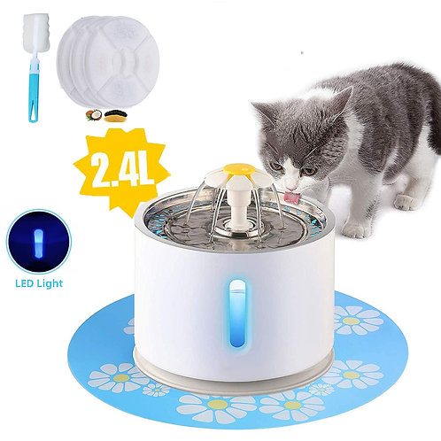 Pet Cat Fountain 2.4L Drinking Window LED Automatic Cat Water Drinking Bowl