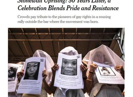 GAG at Stonewall 50 Rally, NYTimes  Takes Note
