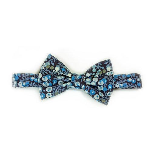Noeud Papillon fixe en  Liberty Wiltshire Bleu / Noir