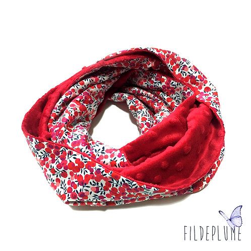 Snood Liberty Wiltshire rouge/Minky