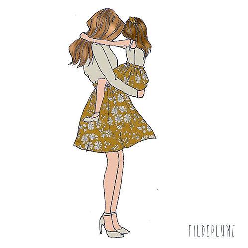 Duo mère fille Jupes en Liberty capel moutarde