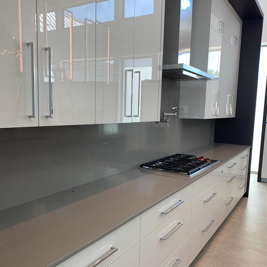 Flat Euro Style Cabinets Quartz Countertops