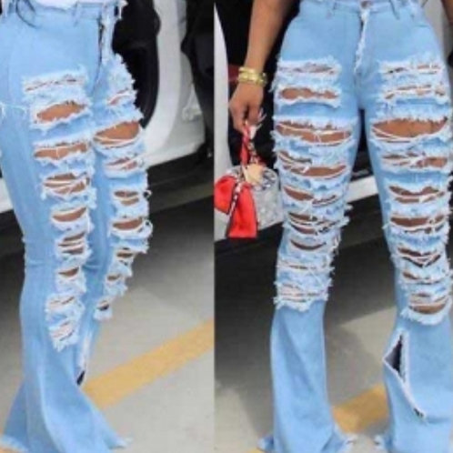 Light Blue Demin Distressed Jeans