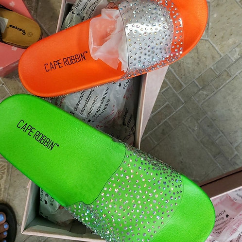 Clear Band Rhinestone Toe Slides Sandals