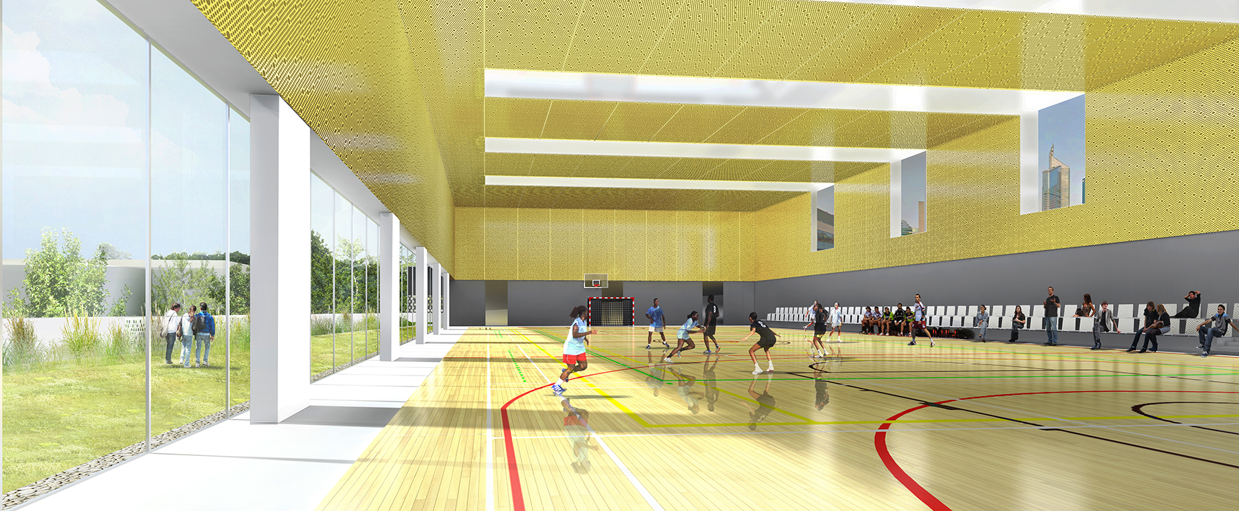 INTERSENS - LEHOUX PHILY & SAMAHA Architectes - Gymnase - Courbevoie - Image d'Architecture 3D (3)