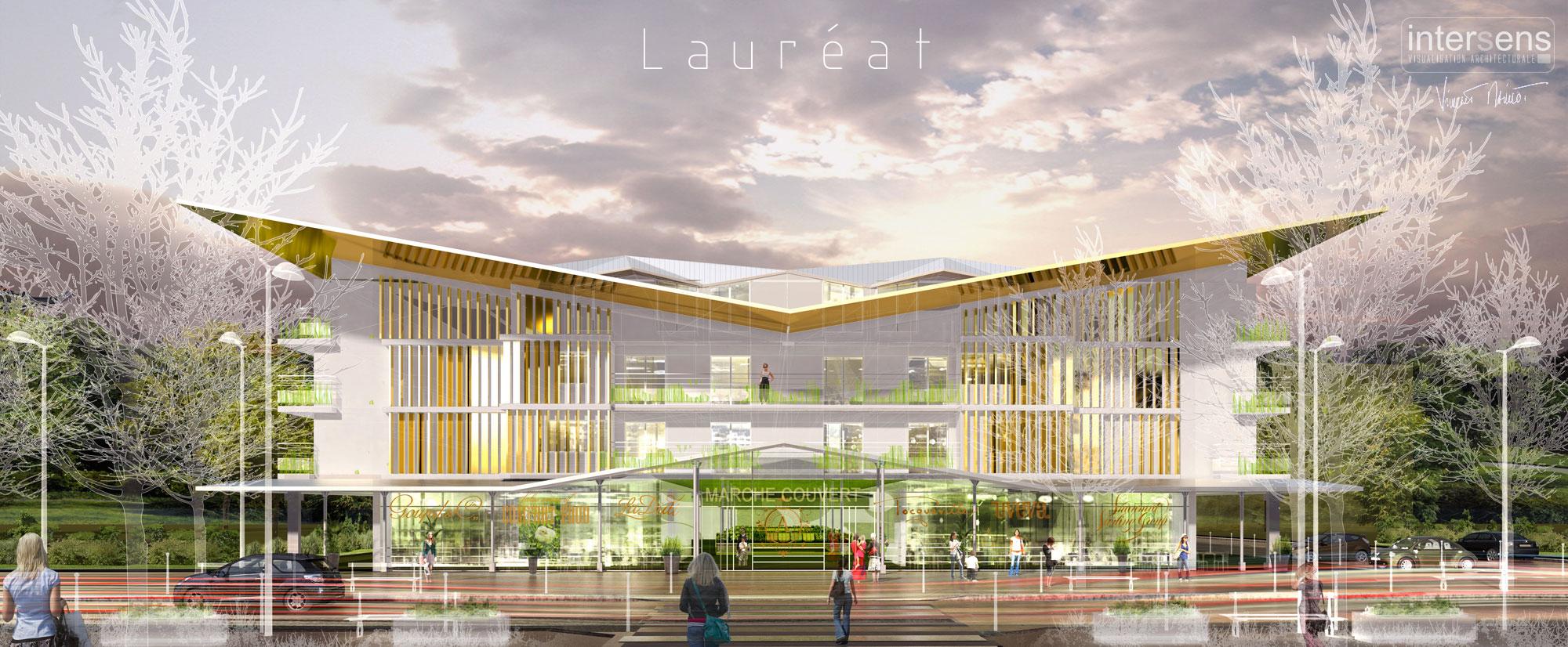 INTERSENS - Laurent FOURNET Architecte - Logement + Marché - Concours Lauréat - Gournay-sur-Marne