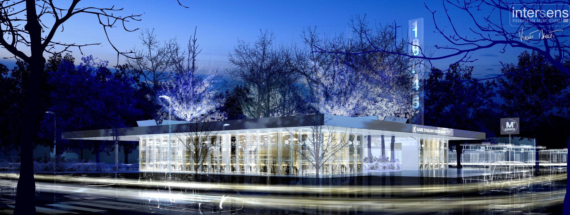 Atelier VM - BECKMANN & NTHEPEE et EGIS-RAIL - Concours du Grand-Paris - Gare d'Aulnay - image d'Arc
