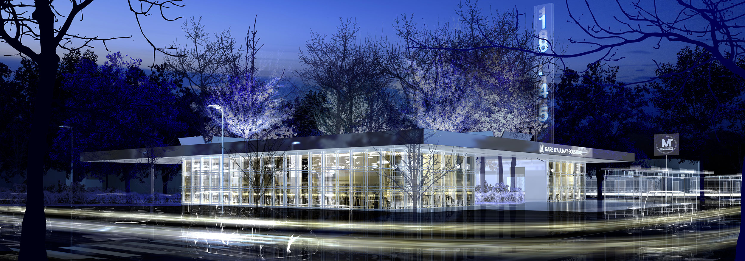 INTERSENS - BECKMANN & NTHEPEE et EGIS-RAIL - Concours du Grand-Paris - Gare d'Aulnay exterieure