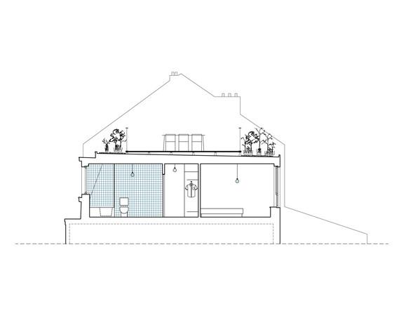 coupe   terrasse, sdb, chambre