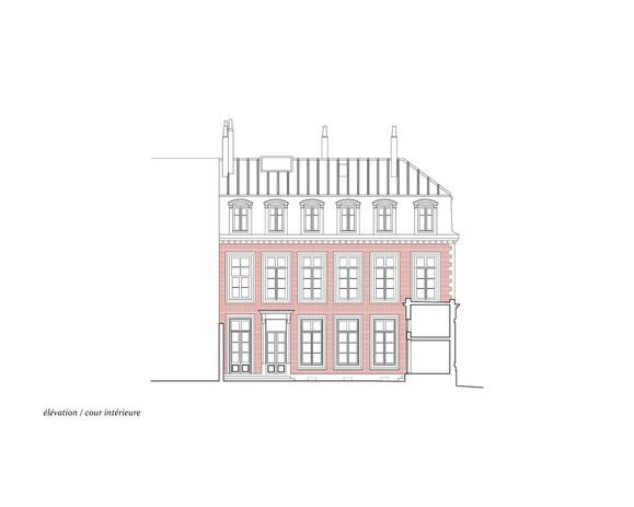 coupe | cour intérieur, bâtiment principal