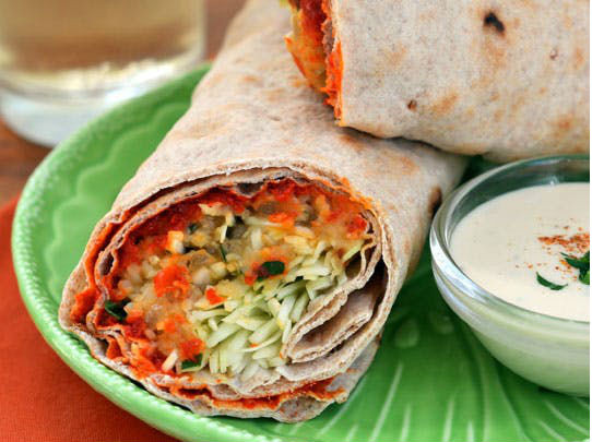 Spicy Lentil Wraps with Tahini Sauce for catering & delivery