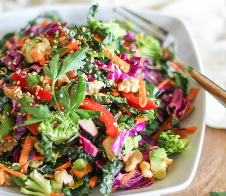 Love a Beautiful Detox Salad with chopped kale, cabbage, broccoli, cilantro, and sesame seeds